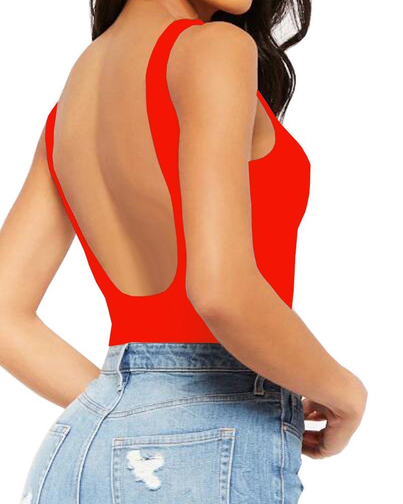 Mangopop Women's Backless Bodysuit Jumpsuits