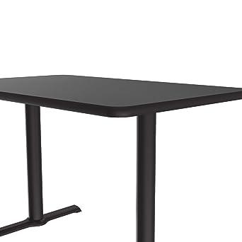 Made in The USA Caf/é Correll BTT3048-07 -30x48 Rectangular Bar Black Granite Top /& Black T Bases Break Room Table
