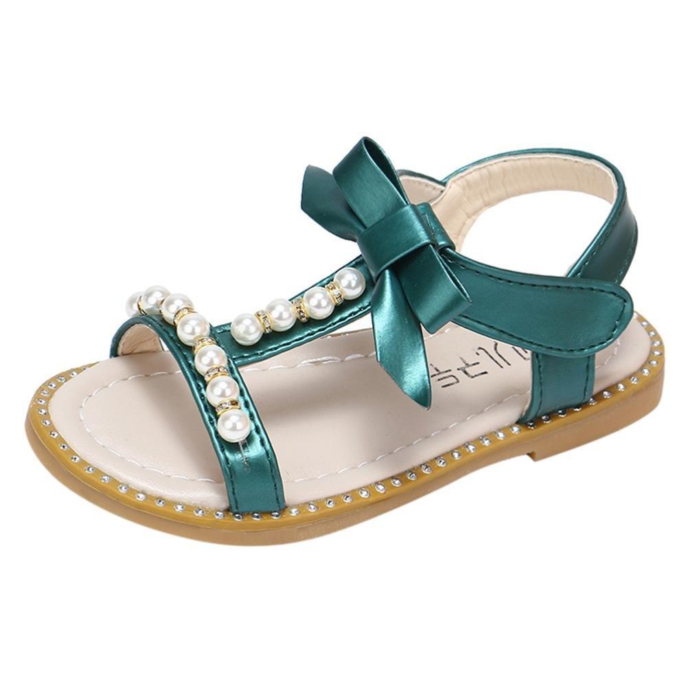 Axinke Summer Casual Open Toe Beaded Rhinestone Flat Roman Sandals for Toddler Girls Littler Girls