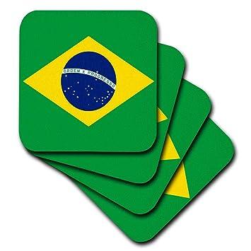 d7b438ebe59 3dRose CST 157837 2 Flag of Brazil-Bandeira Do Brasil-Brazilian Green Yellow  Rhombus with Dark Blue Circle 27 Stars-Soft Coasters