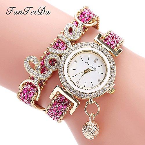 Fashion Luxury Women Wristwatch Watches Love Word Leather Strap Ladies Bracelet Watch Casual Quartz Watch - Rose Blue Kors Gold Face Michael