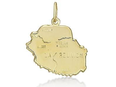 Colgante tarjeta de la Reunión, oro amarillo macizo 18 K 750 ...