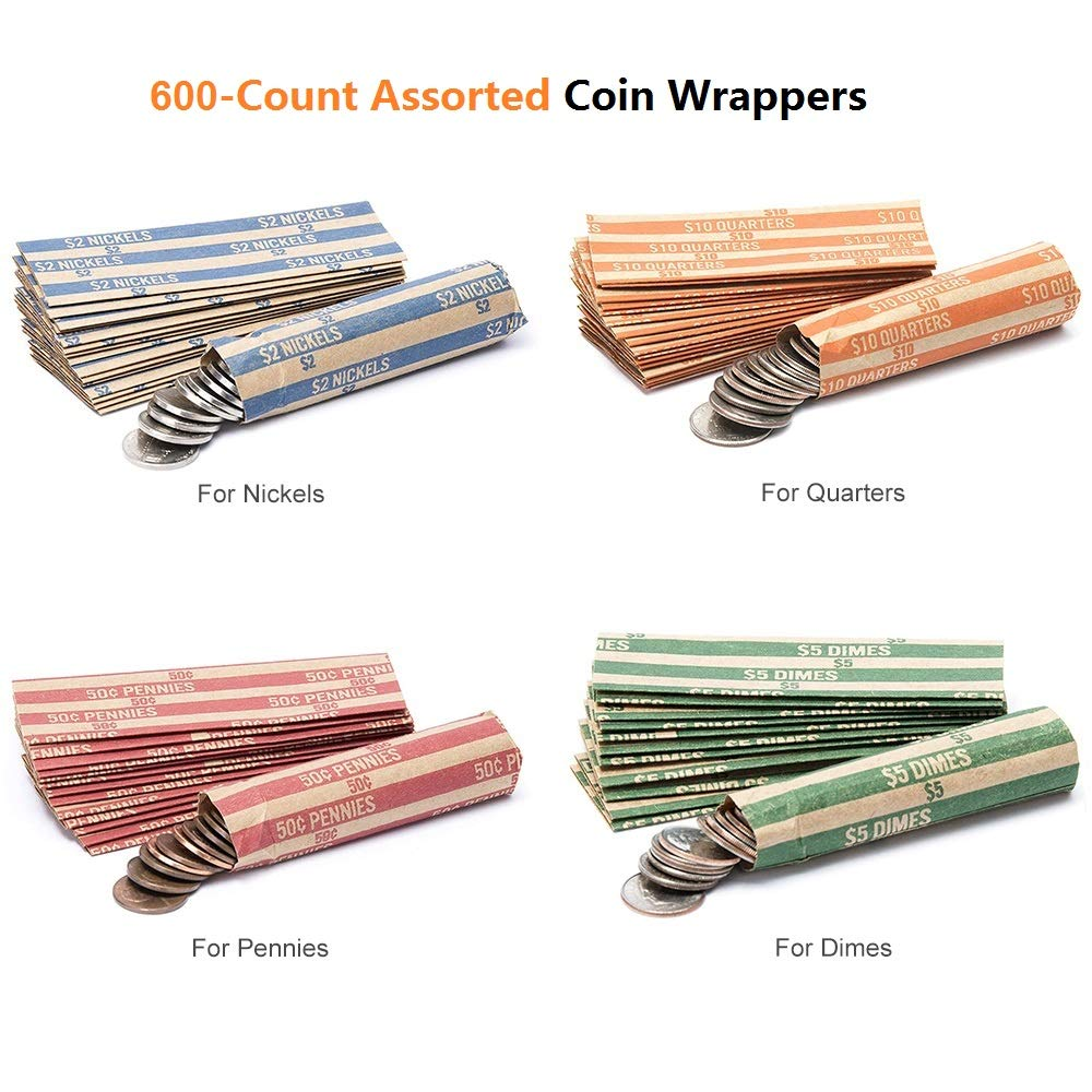 Coin Rolls Wrappers, 600 Assorted Flat Coin Wrappers - 150 of Each Quarters, Dimes, Nickels, Pennies, ABA Striped Kraft Paper Coin Roll Wrappers by Alritz (Image #5)