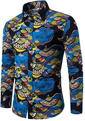 DigerLa Mens Fashion Floral Printed Long Sleeves Button Down Shirt Linen