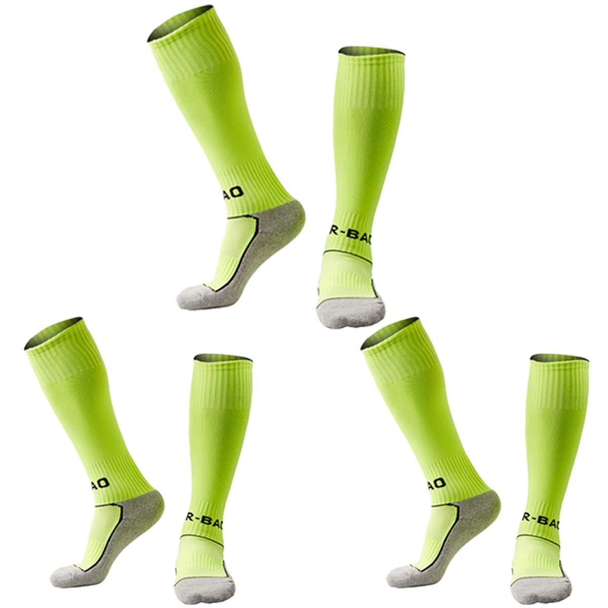 Soccer Socks Little Kids Boys Knee High Comfortable Cotton Team Sports Socks 3 Pack Lime Green XS by KALAKIDS