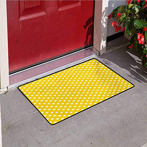Jinguizi Yellow Commercial Grade Entrance mat Picnic Inspired Cute 50s 58s 70s Themed Polka Dot Retro Spotted Pattern Print for entrances garages patios W31.5 x L47.2 Inch Yellow and White -
