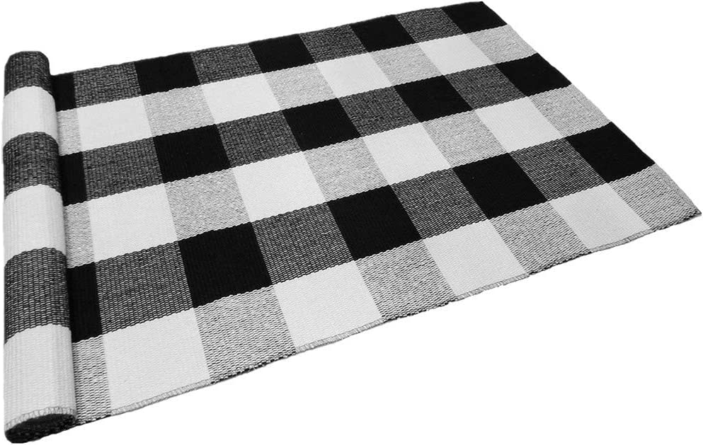Levinis Buffalo Checkered Kitchen Runner Rug 100 Cotton Rugs Black White Plaid Floor Rug for Porch Kitchen Entry Way Laundry Room Bathroom 23.6 x51.2
