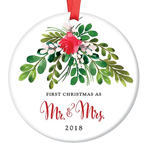 amazon com mr mrs ornament 2018 first christmas as mr mrs 1st