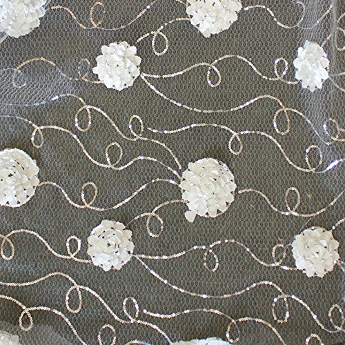 SEQUIN SWIRL WITH FLOWER DESIGN IVORY FABRIC 58