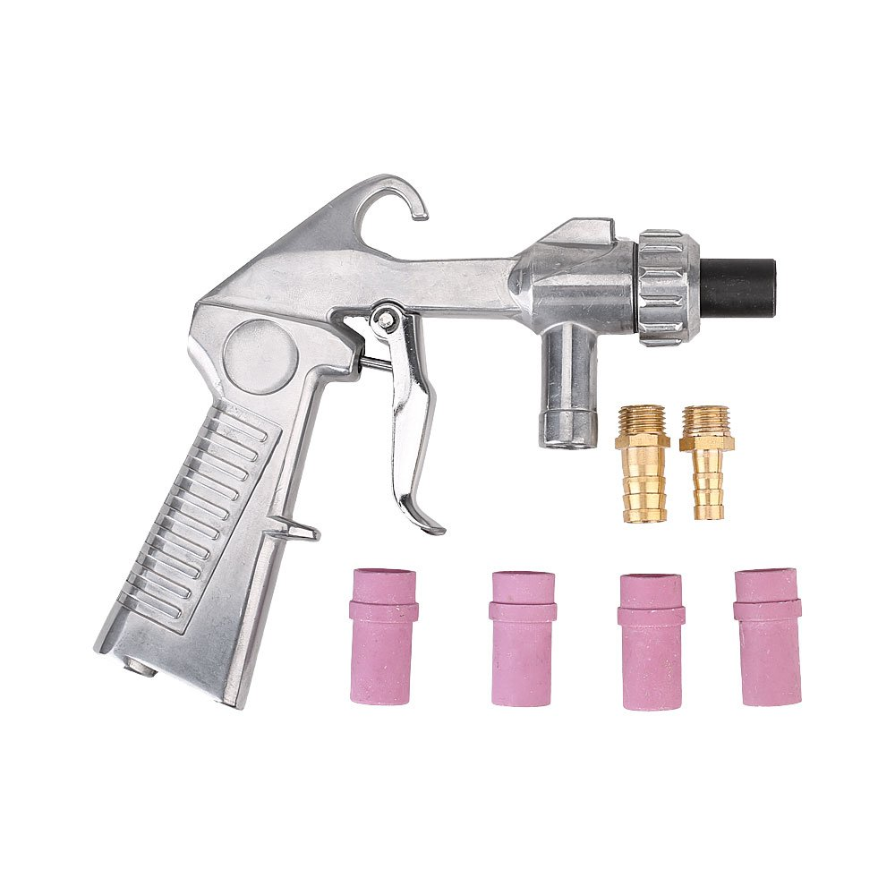 Sandblaster Gun Air Siphon Sand Blasting Gun with Iron / Ceramic Nozzles Kit