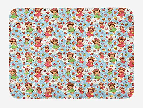 Anime Bath Mat, Cute Little Girls with Fruit Waffle Hats Cookies Donuts and Cupcakes Yummy Pastries, Plush Bathroom Decor Mat with Non Slip Backing, 23.6 W X 15.7 W Inches, Multicolor ()