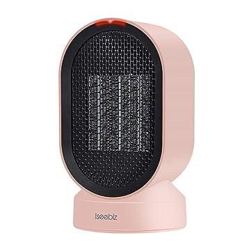 Iseebiz 600W Calefactor Bajo Consumo Ceramico de Aire Caliente o Natural Calefactor Portátil para Hogar y Despacho Color de Rosa: Amazon.es: Hogar