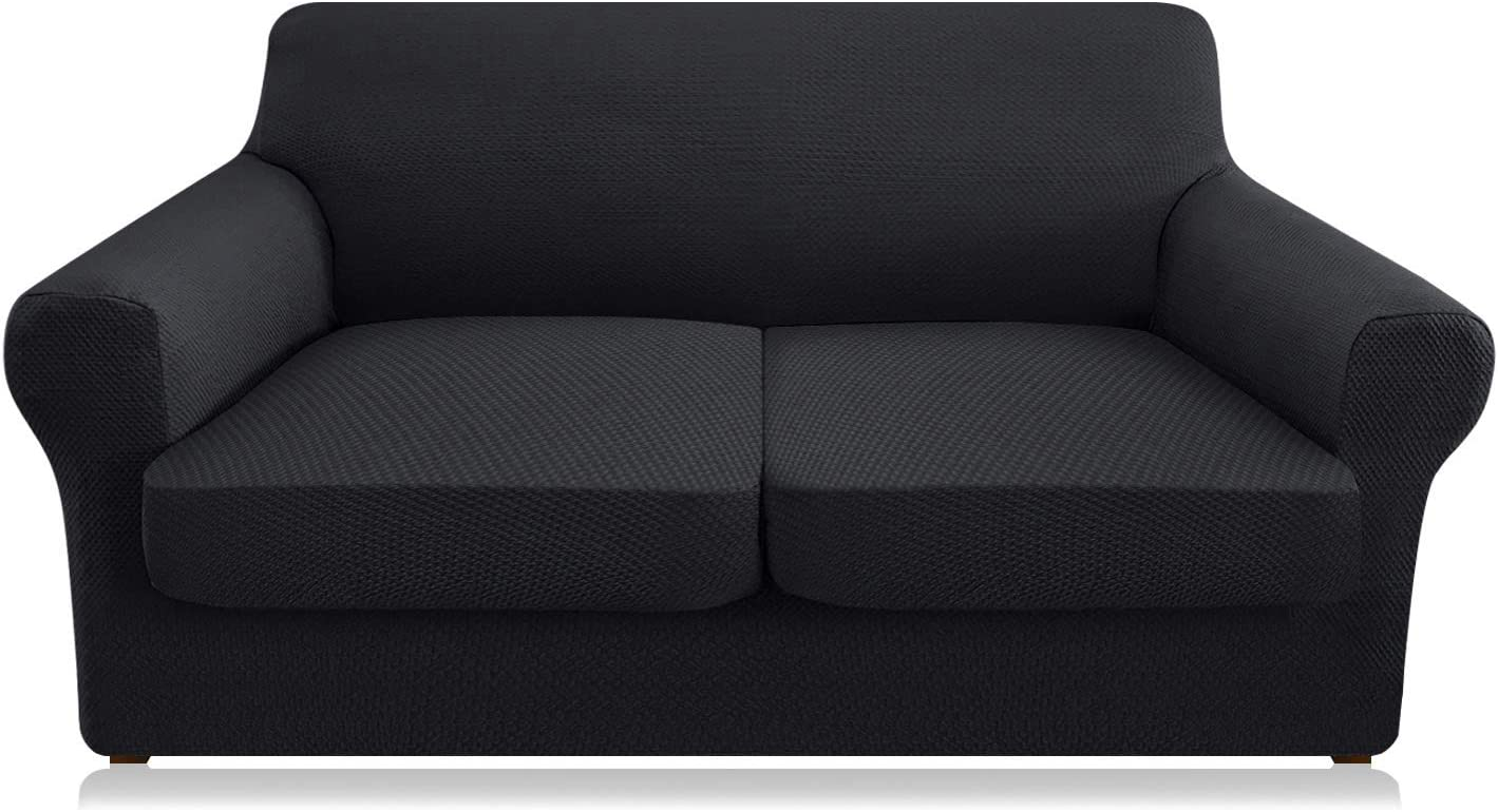 Granbest 3 Piece Stretch Sofa Slipcover Separate Cushion Couch Covers Thick Premium Loveseat Slipcover Jacquard Loveseat Sofa Cover for 2 Cushion Couch Dog Proof Furniture Protector (Medium, Black)