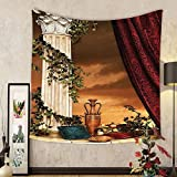 Gzhihine Custom tapestry Gothic House Decor Tapestry Greek Style Scene Climber Pillow Fruits Vine and Red Curtain Ancient Goddess Sunset for Bedroom Living Room Dorm Multicolor
