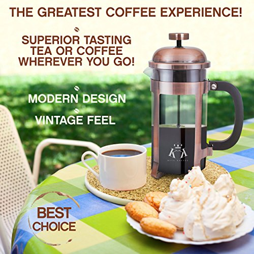 Copper French Press Coffee Maker Stainless Steel Cafetiere by King Koffee   34oz 1000 mL 8 Cups   Unique Extra Large Plunger   Antique Classic Edition   Milk Frother, Tea Infuser   Rust Free by VIKING (Image #6)