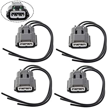 motoall ignition coil connector plug wire harness pigtail wiring loom 3 wire female for nissan infiniti suzuki j48817102 645 787 4pcs Dual Audio Wiring Harness