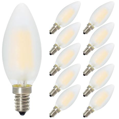 10 E14 regulable LED Forma de Vela, equivalente a 40 W bombillas incandescentes, Blanco cálido 2700 ...