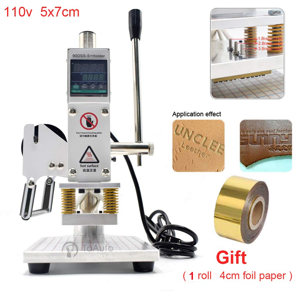Upgraded Hot Foil Stamping Machine 5x7cm 110V Digital Embossing Machine Manual Tipper Stamper for PVC Leather PU Paper Logo Embossing 1.97''x2.76'' by FASTTOBUY