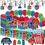 Another Dream PJ Masks MEGA Deluxe Birthday Party Pack for 16 with Plates, Napkins, Cups, Cutlery, Tablecover, Candles, Hanging Swirl Decorations, and Balloons!