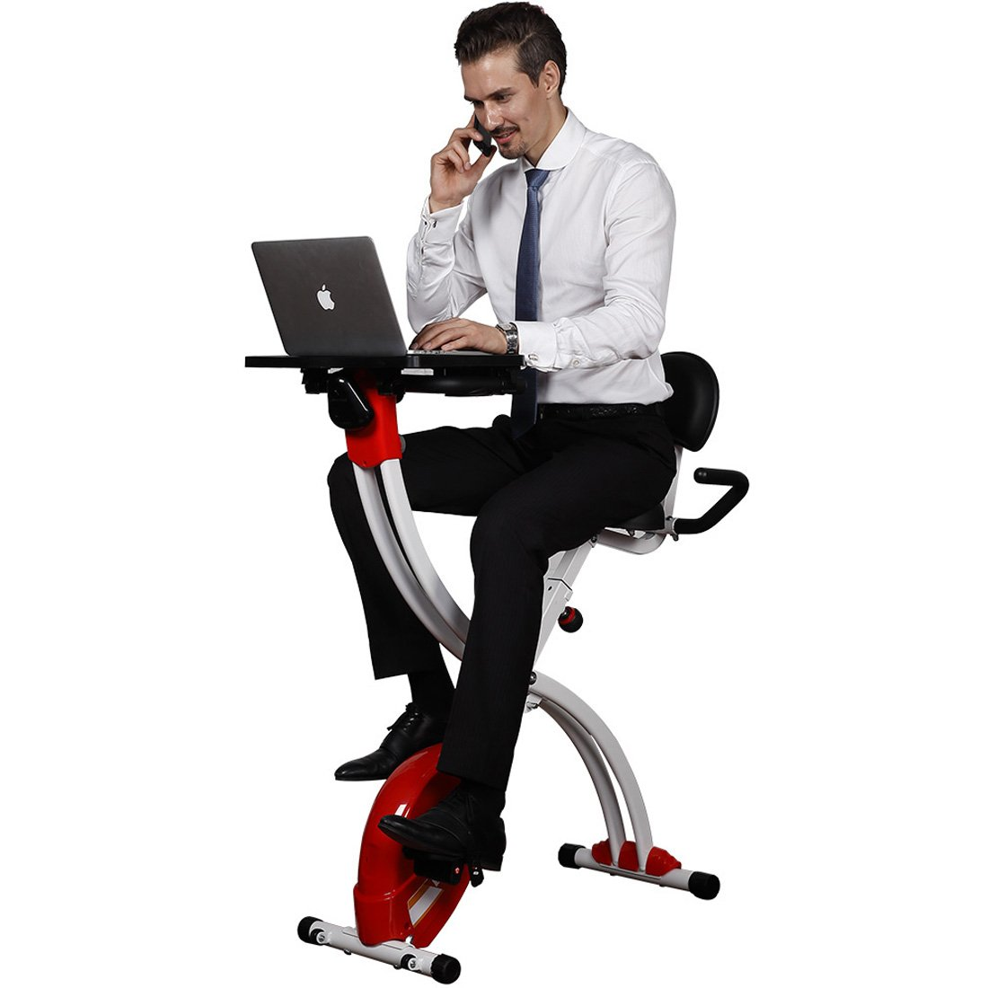Loctek Foldable Office Cycling Workstation Desk Exercise Bike with Laptop Table, Red by Loctek
