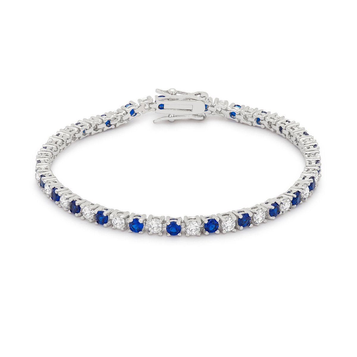 Sapphire Blue Cubic Zirconia Tennis Bracelet By Kate Bissett