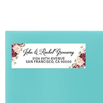 amazon com wedding return address label pink roses by