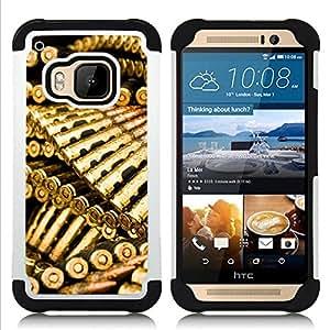 GIFT CHOICE / Defensor Cubierta de protección completa Flexible TPU Silicona + Duro PC Estuche protector Cáscara Funda Caso / Combo Case for HTC ONE M9 // Golden Bullets Ammo //