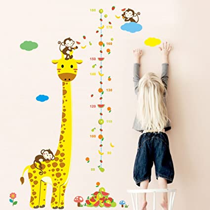 Growth Chart Height Tree Measurement Animals Wall Decals Removable