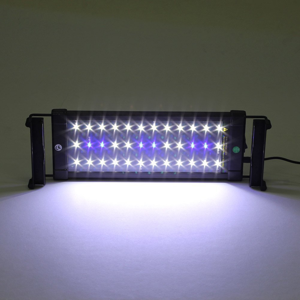 Deckey 11W Aquarium Fish Tank Extendable Light LED Blue and White Color Changing Frame Fish Lamp 72 LED(60 White Light + 12 Blue Light)