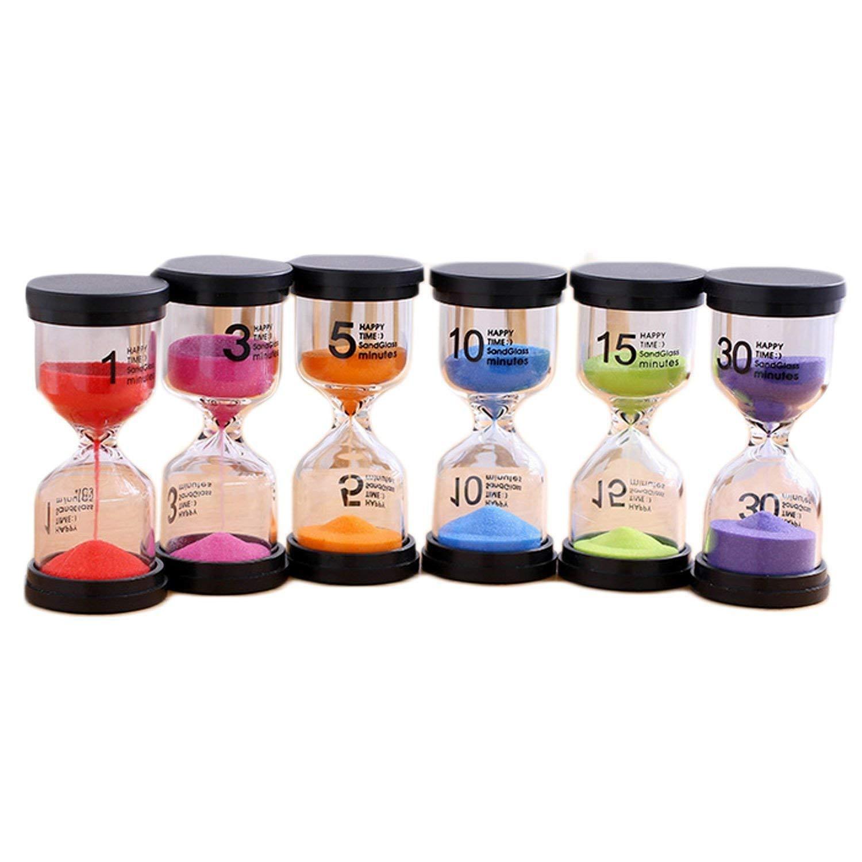 Gosear Hourglasses, Sand Timer 6pcs Hourglass Sand Clock Timer Sandglass 1 3 5 10 15 30mins for Classroom Game Home Office Decoration Random Colors.
