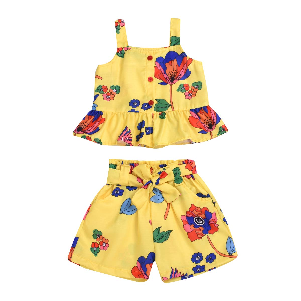 2Pcs//Set Fashion Toddler Kids Baby Girl T-Shirt Top+Floral Denim Shorts Pants Outfits