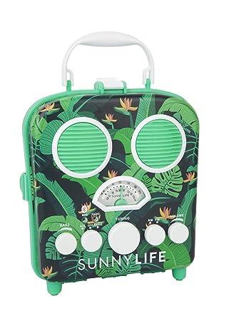 Retro Design Portable Radio MP3 Bluetooth Speaker System Palm Tree Monteverde Beach Boombox by Sunnylife Australia