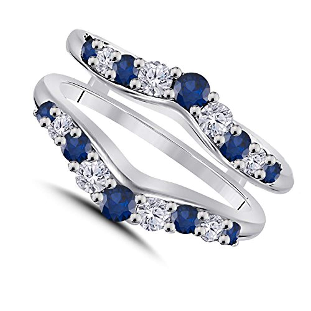 Trendzjewels 0.50 Ct Created Blue Sapphire & White Diamond Fashion Women's Jewelry Wedding Ring Guard Wrap Enhancer Black Gold Plated (White Gold Plated, 7)