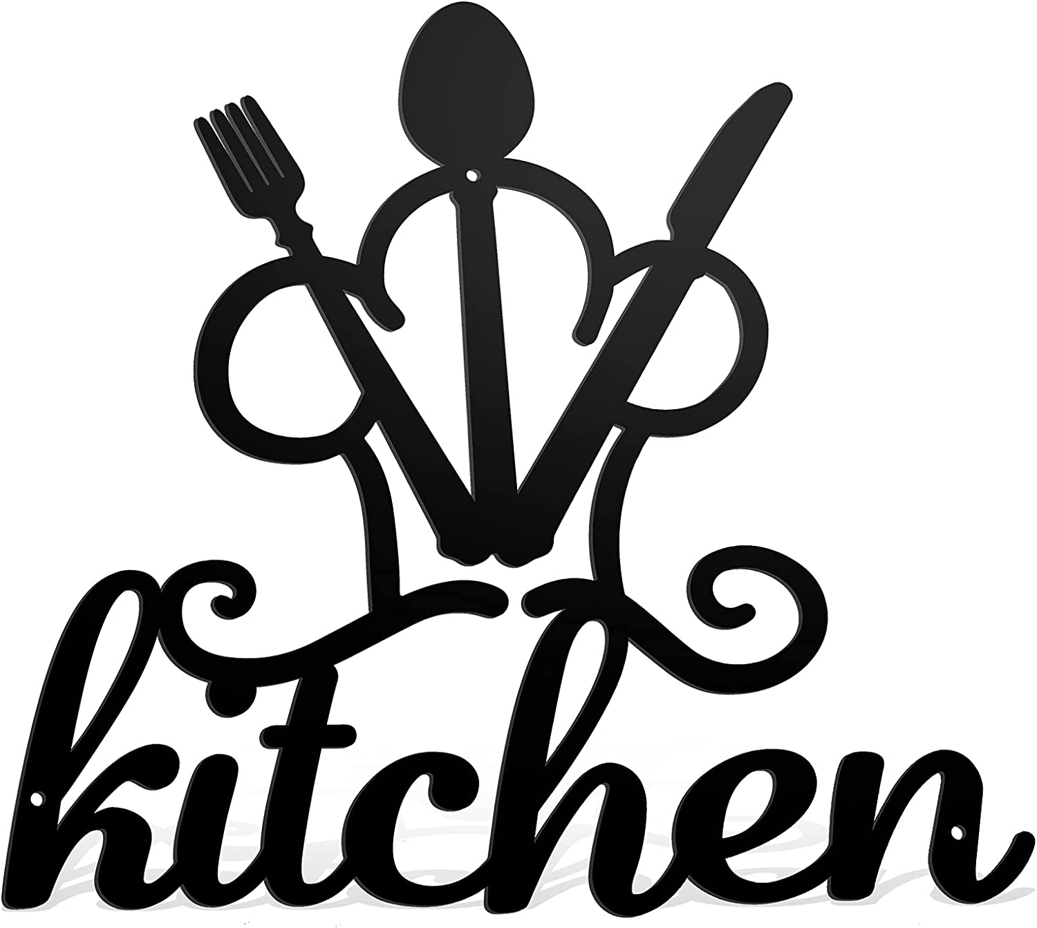Kitchen Black Metal Wall Word Sign Rustic Cutout Kitchen Wall Decor Metal Wall Hanging Word Decor Kitchen Sign Fork Spoon Knife Wall Sign for Home Kitchen Living Room 15.7 x 15.9 Inches