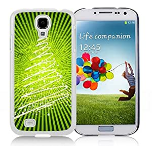 Galaxy S4 Case,Christmas Bright Green Stars Christmas Tree Christmas Series-TPU White S4 Protective Case,Samsung S4 I9500 Case