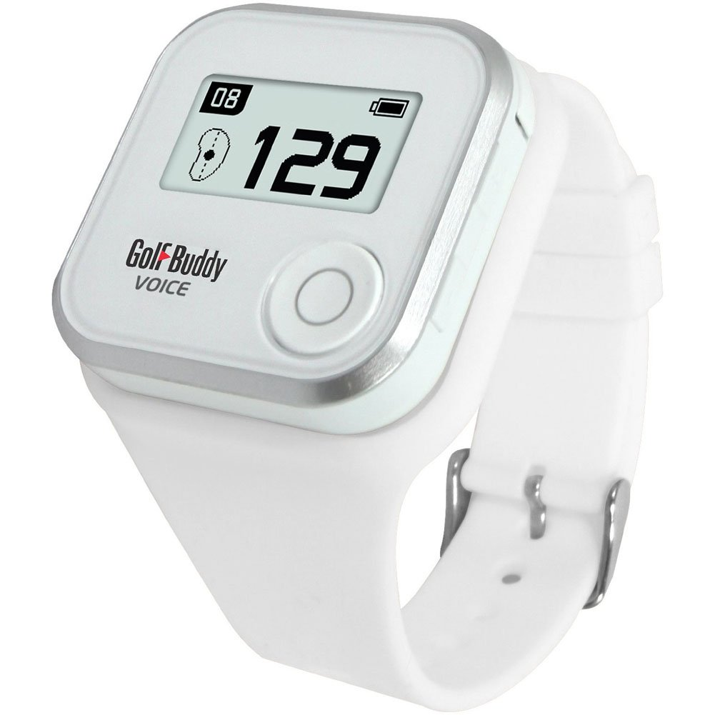 Golf Buddy Voice Plus GPS Range Finder GolfBuddy GPS Rangefinder with Wristband White Audio Distance& Quick English Manual & Free Gift tape measure