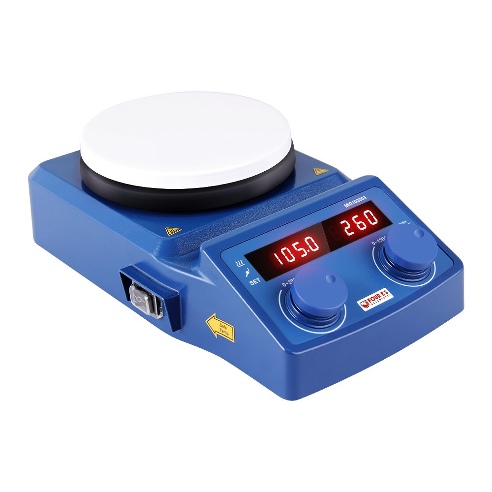 5 Inch LED Digital Magnetic Hotplate Stirrer - Four E's with Ceramic Coated Hotplate, 100-1500RPM, 5L, 600W - Benchtop Appliance for Scientific Research Clinics Classrooms Laboratory - US Plug by FOUR E'S SCIENTIFIC (Image #6)