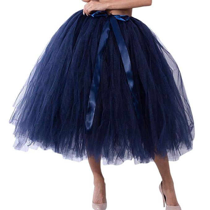 Falda de Tutu Mujer,SHOBDW Malla de Tul En Capas de Dama de Honor Mullido