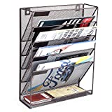 SamStar 6 Tier Wall Mounted File Document Holder, Metal Wall Magazine Rack Mail Sorter Organizer for Office Home, Bronze