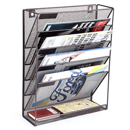 SamStar 6 Tier Wall Mounted File Document Holder - Metal Wall Magazine Rack Mail Sorter Organizer for Office Home - Bronze