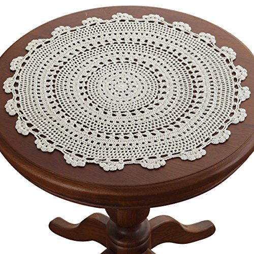 gracebuy 19 Inch Beige Round Handmade Crochet Lace Tablecloths - Doily Thread Crochet