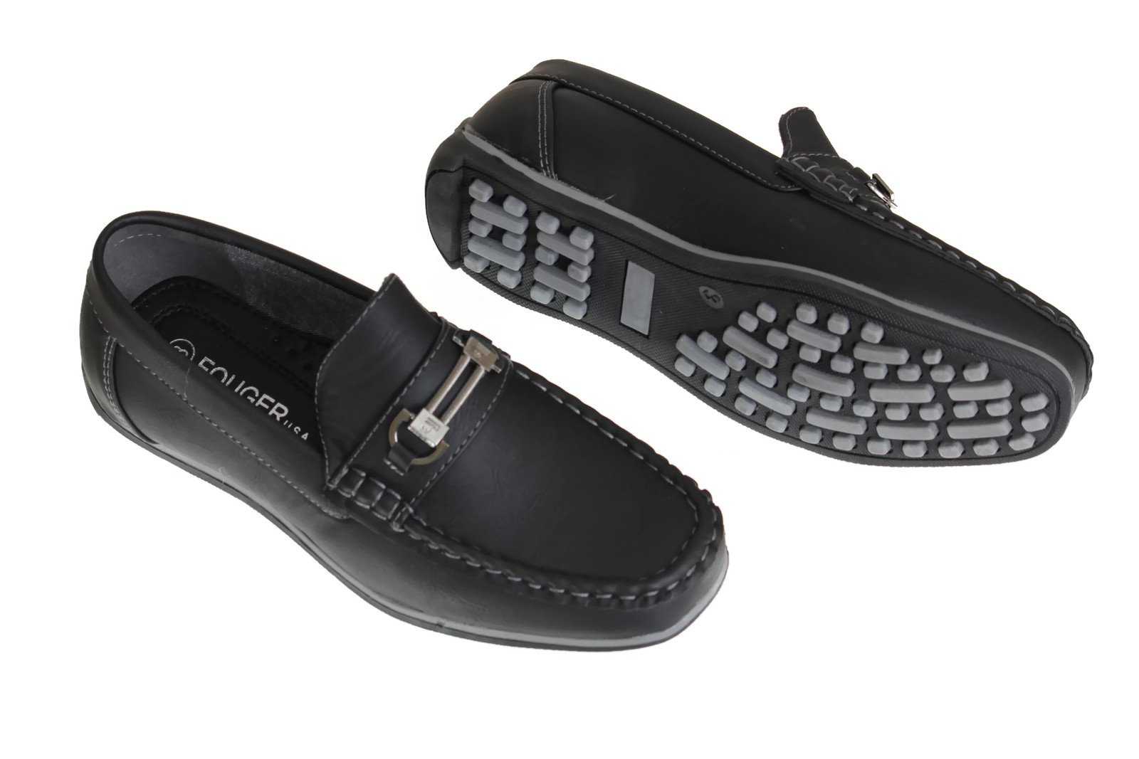 Little Boys 10 to Big Boys 7 Black Slip on Loafer Dress Shoes (Todd 9)