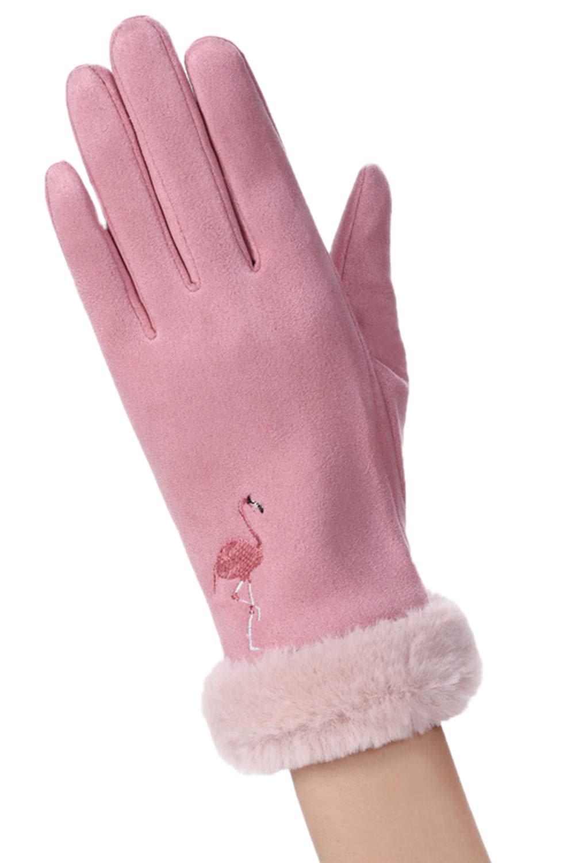 Women Gloves Fluff Flamingo Glove Warm TouchScreen Windproof Winter Black F