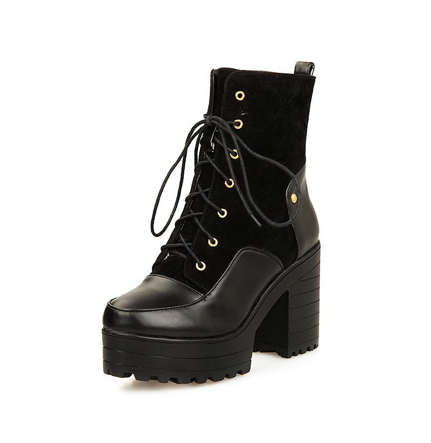 AllhqFashion Women's Soft Material Round Closed Toe Assorted Color Low-top High-Heels Boots