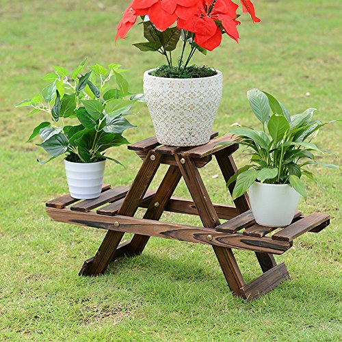 MGHJX Floor-standing Solid Wood Flower Rack 2-story Balcony Living Room Indoor Garden Flower Plant Rack A+ ( Color : Carbonized color ) by PM Flower racks