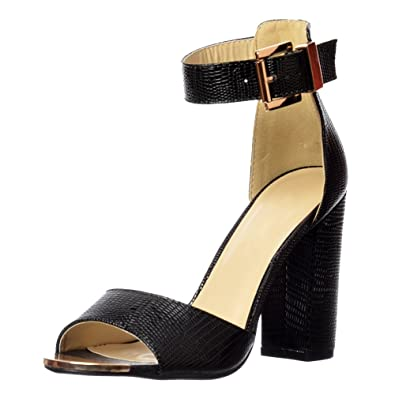 df0c58e0a Onlineshoe Women s High Back Strappy Sandals Buckled Ankle Cuff Peep Toe  Mid Heels Pumps UK3 -