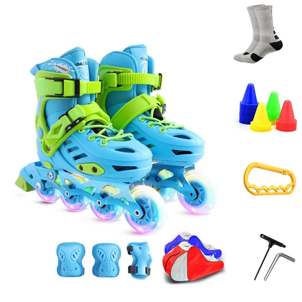 XZ15 調節可能なサイズのキッズインラインスケート、点滅インラインスケート靴、ローラースケート、高性能インラインスケート (Color : #3, Size : S 27-30) #3 S 27-30