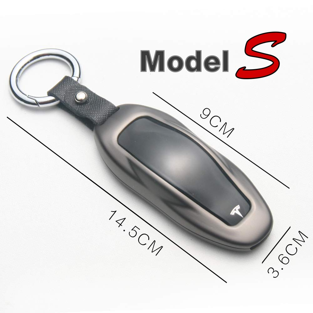 guangpai auto gppower Zinc Alloy Car Key Fob Cover Auto Remote Key Fob Shell Protector Case Holder for Tesla Model S Silver, Model S
