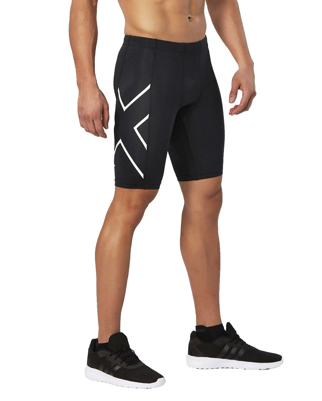 2XU Men's TR 2 Compression Shorts, Black/White, X-Large