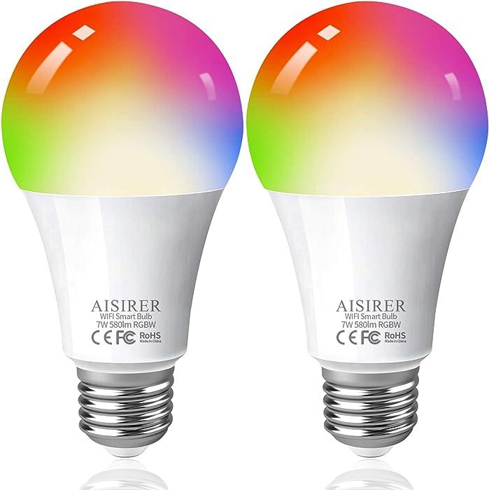 Smart Light Bulbs 60 Watts Equivalent Full Color Changing Bulbs Smart LED Bulbs Compatible with Amazon Alexa Google Home and Siri No Hub Required 2.4GHz WiFi Bulbs AISIRER 2 Pack A19 E26 Bulbs